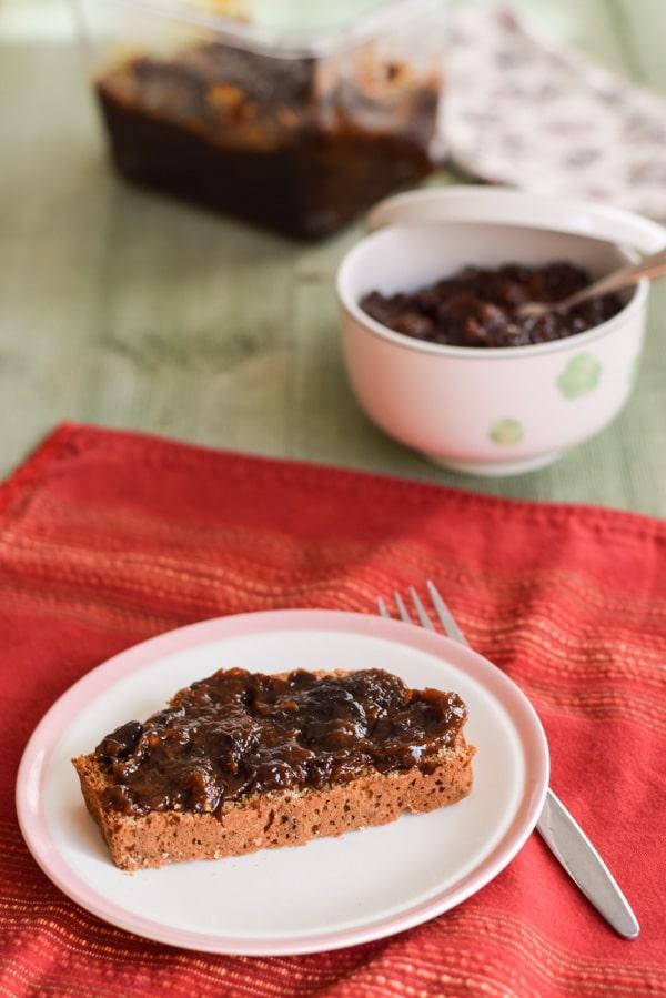 Prune spread on Brown Irish Soda Bread