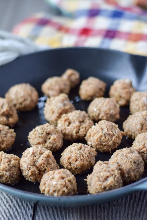 Meatballs all mixed and in the pan