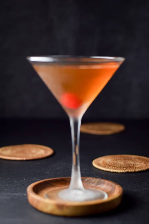 Vertical roaring Rob Roy cocktail