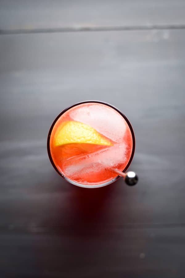 Arial view of sloe gin fizz cocktail