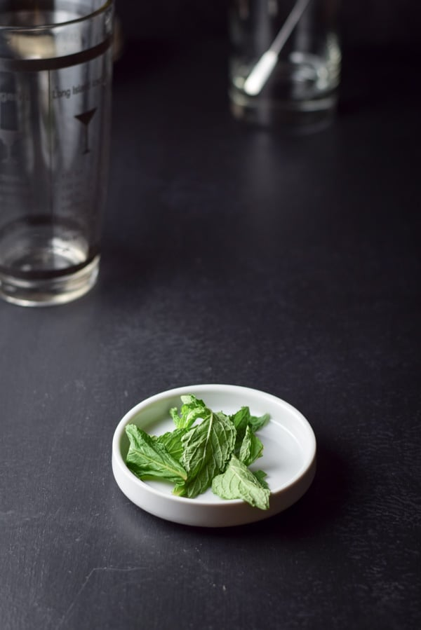 mint leaves getting ready to be muddled for the wonderfully delicious whiskey smash