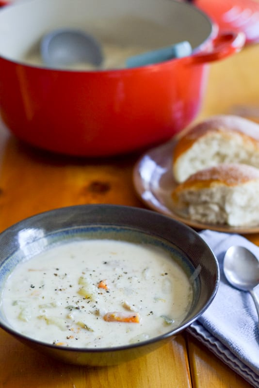 Easy Creamy Clam Chowder ready to be consumed