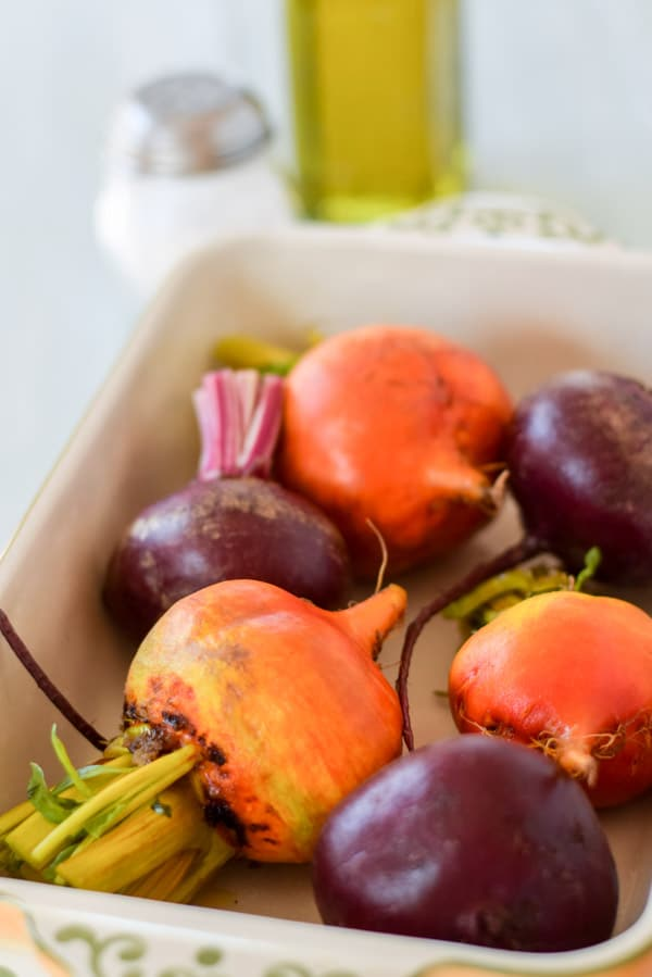 The beets all cut and ready for some roasting for the simply tasty and beautiful roasted beets