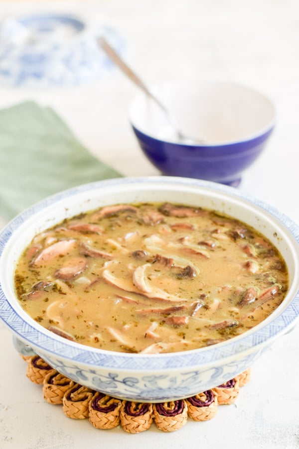 The lovely delicious mushroom soup in a big bowl for