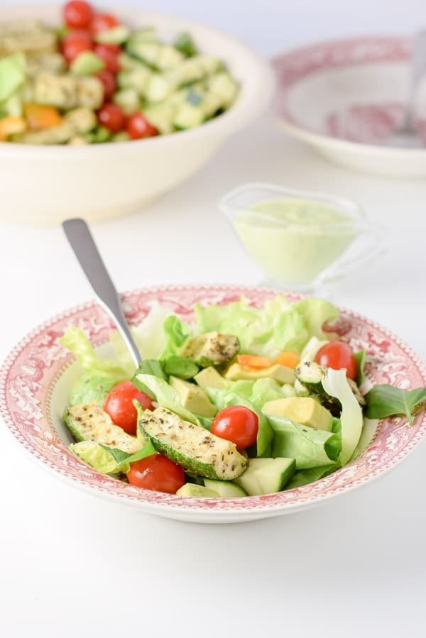 The beautiful Boston lettuce vegetable salad served and ready to be eaten