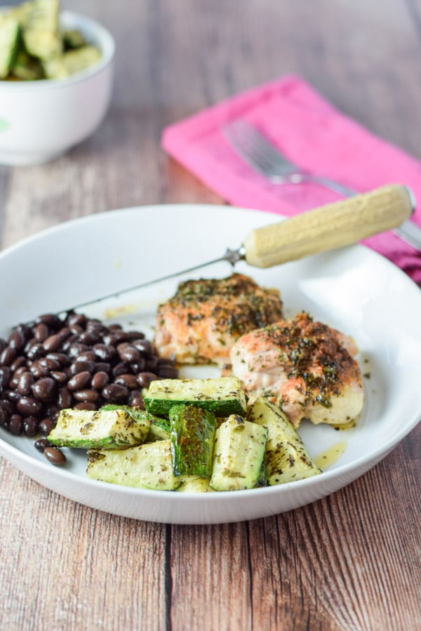 Plated super easy herb roasted zucchini
