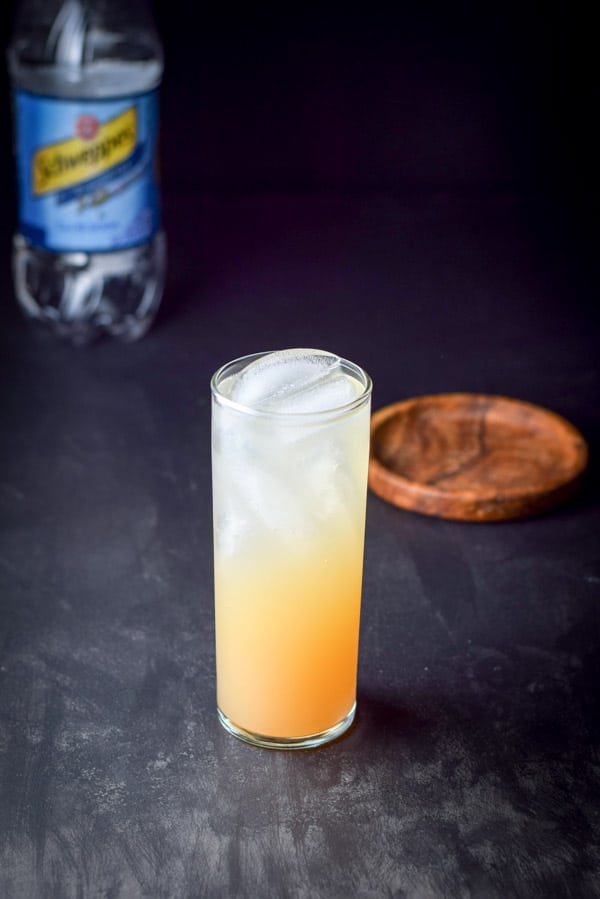Club soda added to the great grapefruit Paloma cocktail