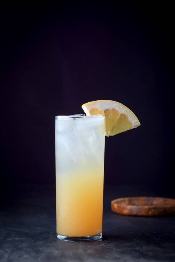 Vertical view of the great grapefruit Paloma cocktail