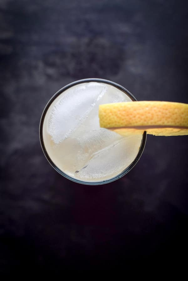 Aerial view of the great grapefruit Paloma cocktail