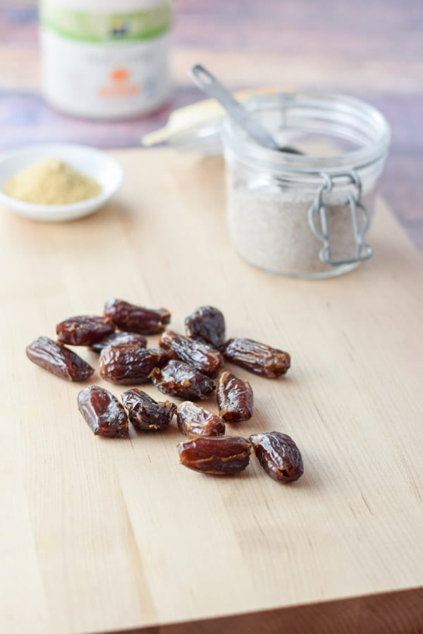 Dates, chia seeds, flax meal ready to be combined for the healthy smores granola bars