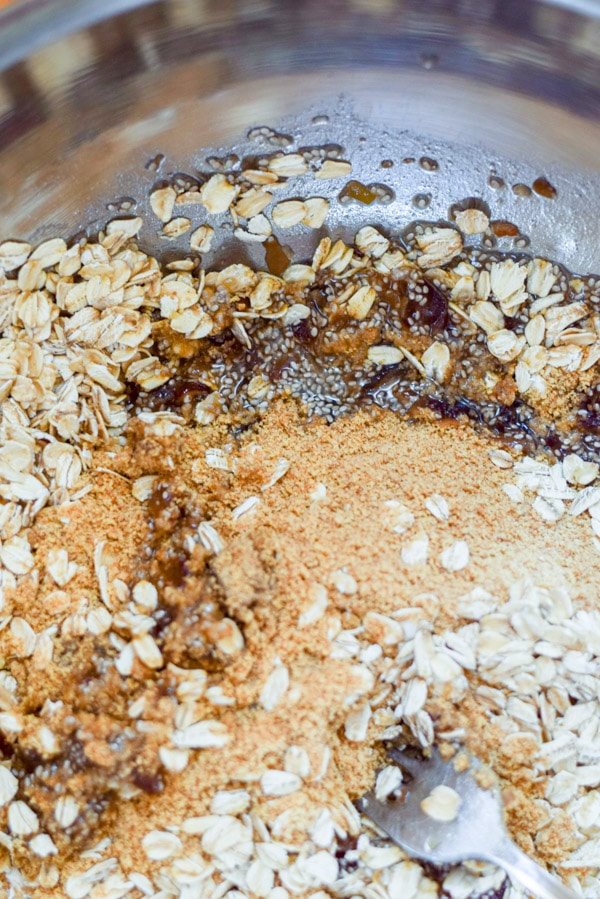 All the ingredients together in a bowl for the healthy s'mores granola bars