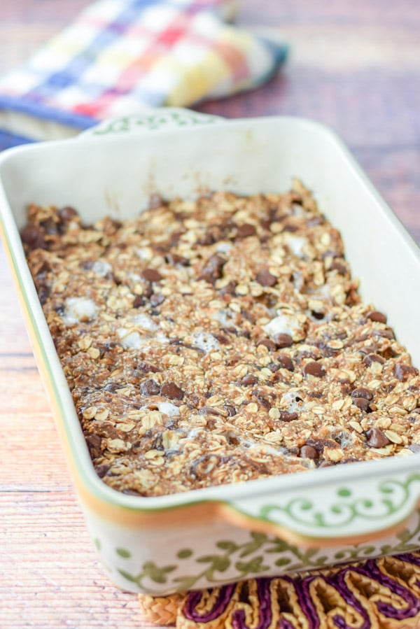 The healthy s'mores granola bars straight out of the oven