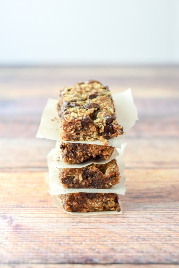 4 stacked healthy s'mores granola bars ready to be eaten