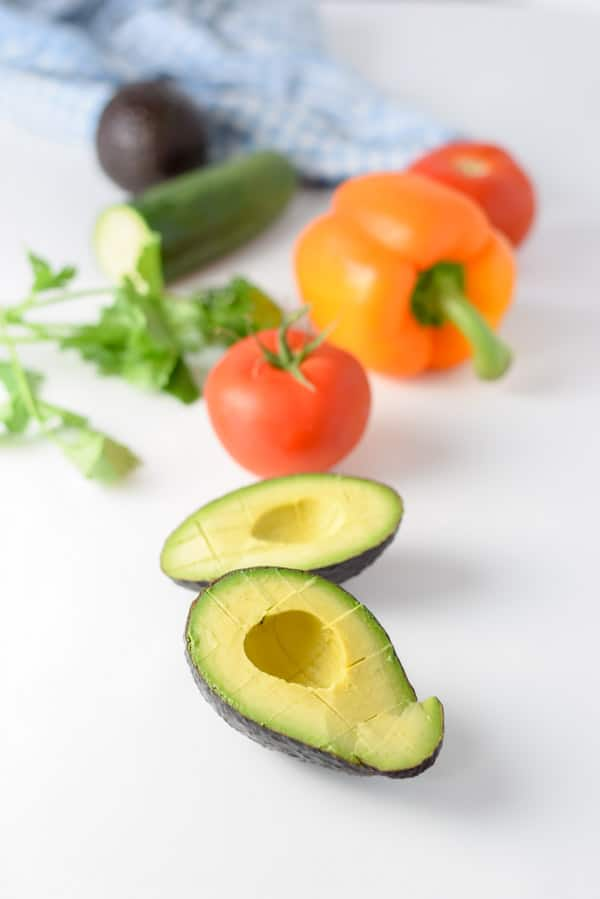 All the ingredients for the refreshing healthy avocado salad