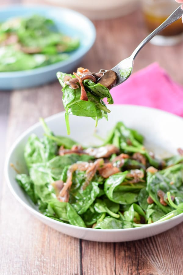 A bite of super tasty spinach salad