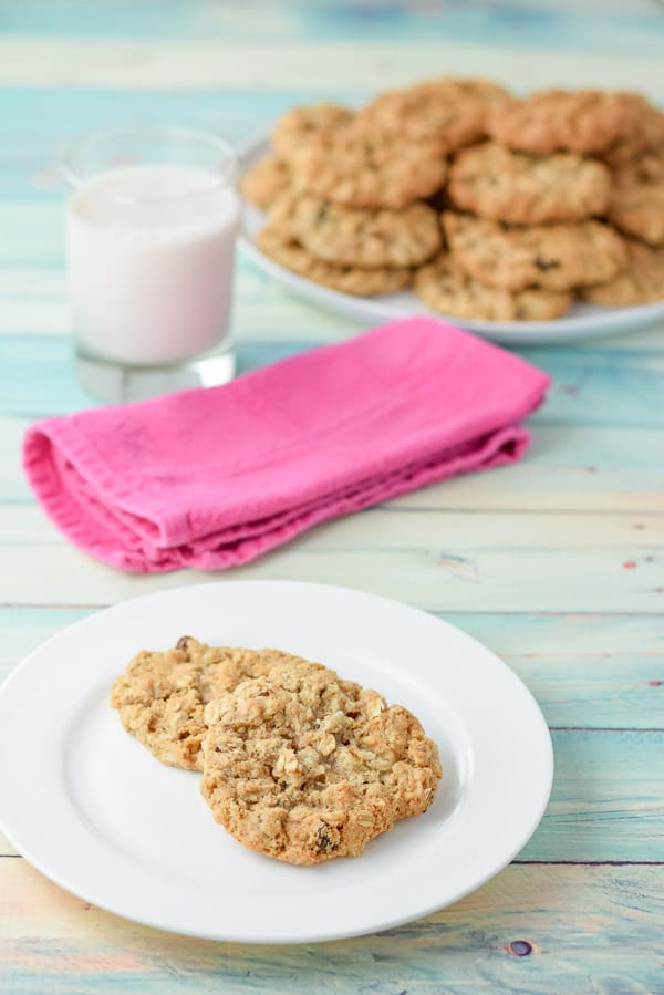 Two of Addy's awesome oatmeal raisin cookies on a plate