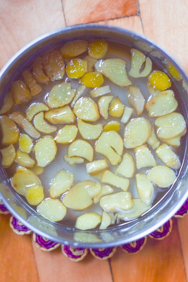 Simmered easy ginger infused simple syrup