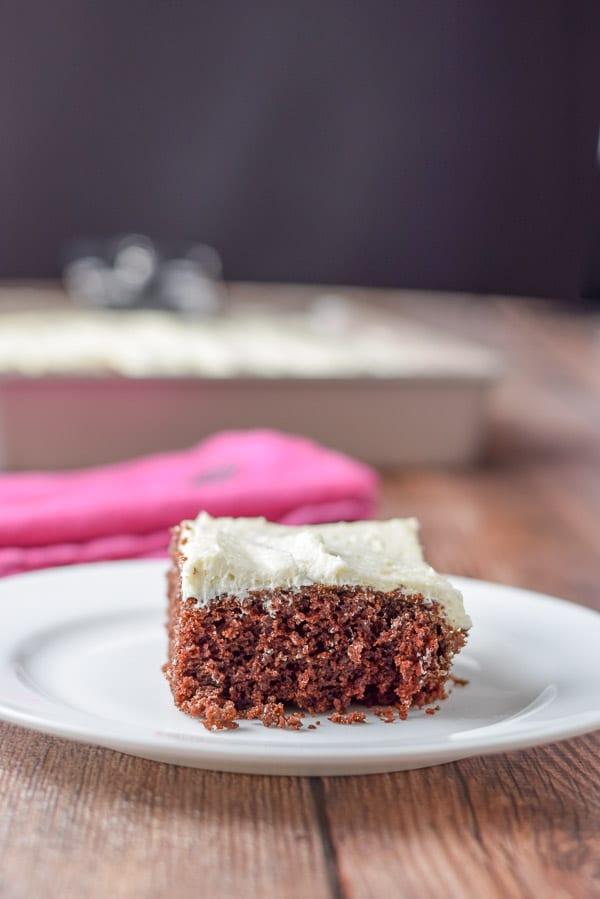 Close up of Claras heavenly chocolate cake pan cake