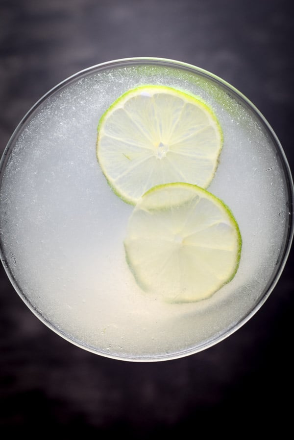 Aerial view for the classically easy vodka gimlet cocktail