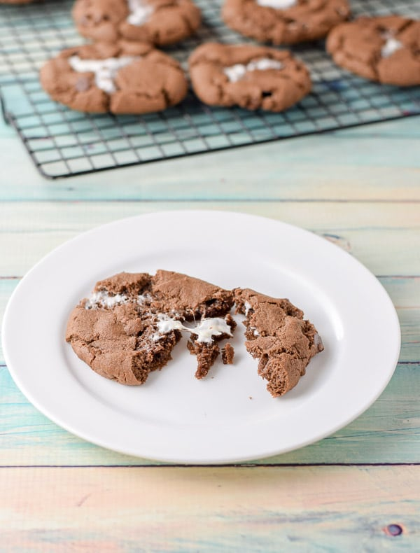broken up marshmallow filled chocolate cookies