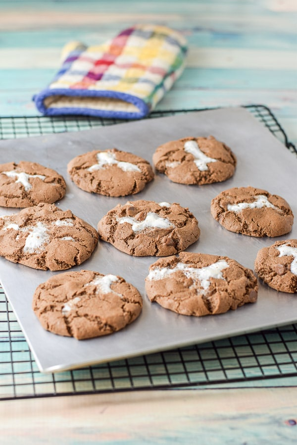 Fresh out of the oven for the marshmallow filled chocolate cookies