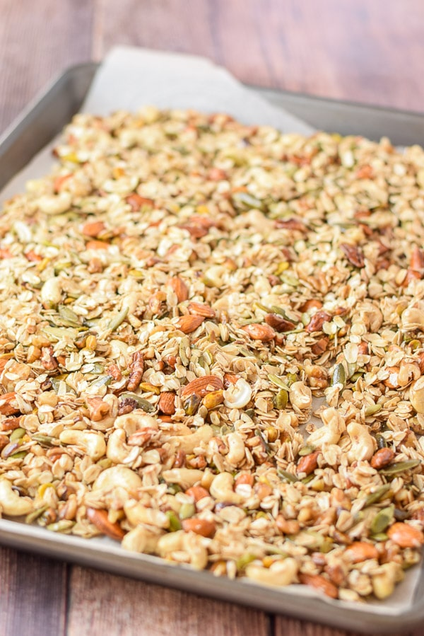 Layered on the pan is the temptingly crunchy nutty granola