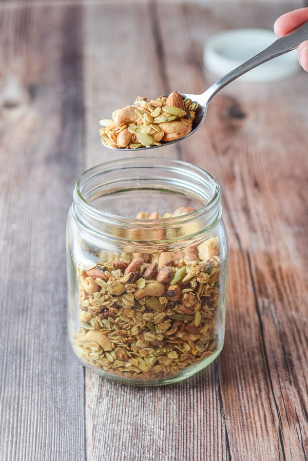 A spoonful of temptingly crunchy nutty granola