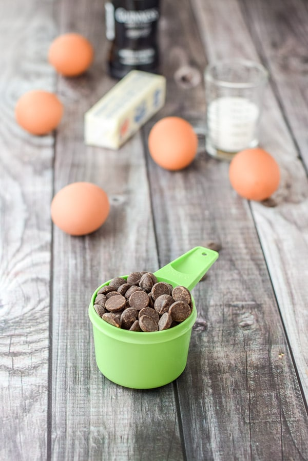 Chocolate chips, eggs, butter and lots of yummies for the great Guinness chocolate mousse