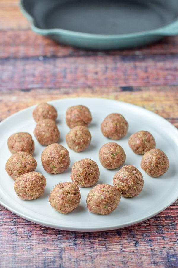 Rolled meatballs for the brazen bourbon meatball appetizer