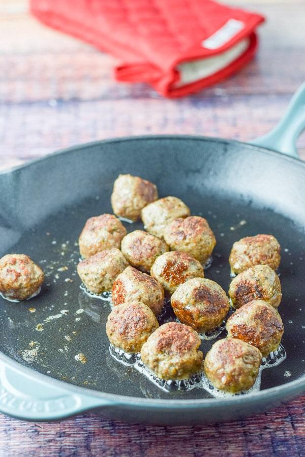 Meatballs sautéed for the brazen bourbon meatball appetizer